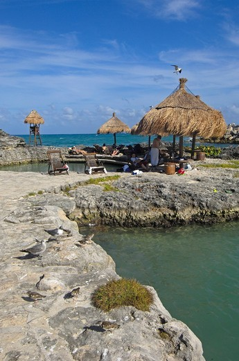 Stock Photo: 1848-457481 Beach area, Xcaret, Eco_archeological park, Playa del Carmen, Quintana Roo state, Mayan Riviera, Yucatan Peninsula, Mexico