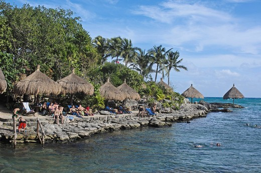 Stock Photo: 1848-457487 Snorkeling area, Xcaret, Eco_archeological park, Playa del Carmen, Quintana Roo state, Mayan Riviera, Yucatan Peninsula, Mexico