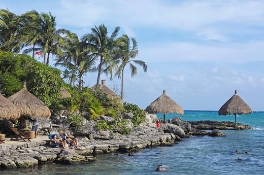 Snorkeling area, Xcaret, Eco_archeological park, Playa del Carmen, Quintana Roo state, Mayan Riviera, Yucatan Peninsula, Mexico : Stock Photo