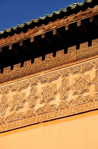 Stock Photo: 1848-457645 Reliefs on the walls of the Saadian Tombs building, Marrakesh, Morocco, Africa