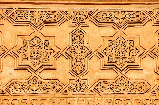 Reliefs on the walls of the Saadian Tombs building, Marrakesh, Morocco, Africa : Stock Photo