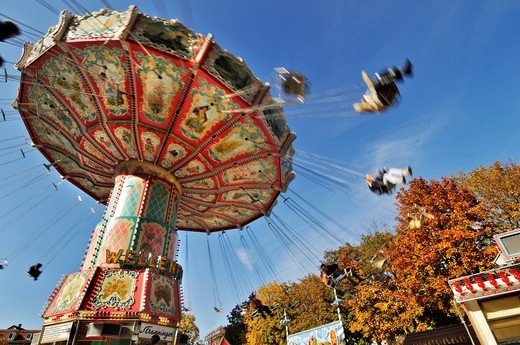 Chair_o_planes or swing carousel, Auer Dult fair, Munich, Bavaria, Germany, Europe : Stock Photo