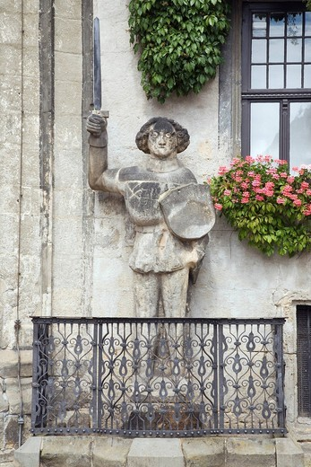 Stock Photo: 1848-457796 Statue of Roland, Quedlinburg, Saxony_Anhalt, Germany, Europe