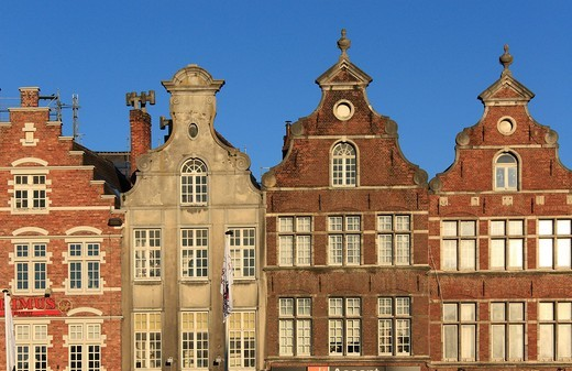 Gabled houses on the Groten Markt market square, Oudenaarde, West Flanders, Flanders, Belgium, Europe : Stock Photo