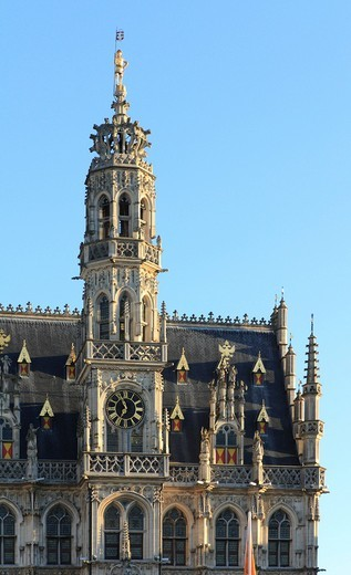 Gothic town hall by Hendrik van Pede, Grote Markt market square, Oudenaarde, West Flanders, Flanders, Belgium, Europe : Stock Photo