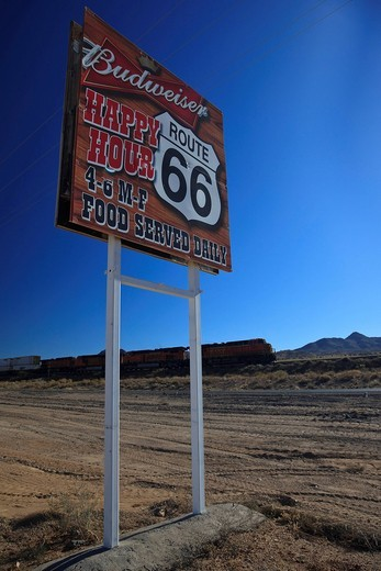 Advertising sign on the historic Route 66, Antares, Kingman, Arizona, USA, North America : Stock Photo