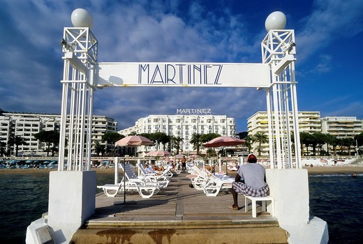 Stock Photo: 1848-458169 Hotel Martinez, boat dock and the hotel beach, Boulevard de la Croisette, Cannes, Cote d´Azur, Var, Southern France, France, Europe