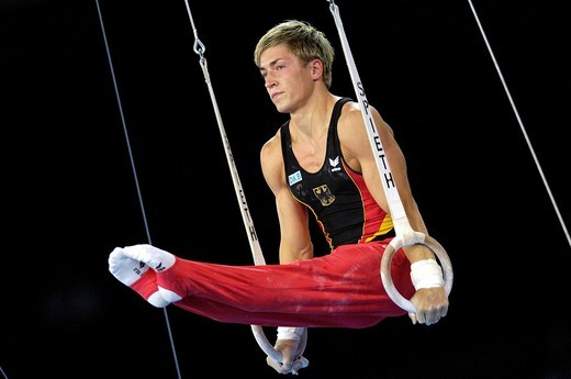 Stock Photo: 1848-45839 Artistic Gymnastics Fabian HAMBUeCHEN GER on rings Artistic Gymnastics World Championships 2007 Stuttgart Baden_Wuerttemberg Germany