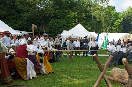 Camp life during the Wallenstein Summer of 1630 activities in Memmingen, Allgaeu, Bavaria, Germany, Europe : Stock Photo