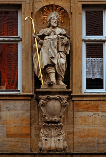 Saints figure on a town house, Bamberg, Upper Franconia, Bavaria, Germany, Europe : Stock Photo