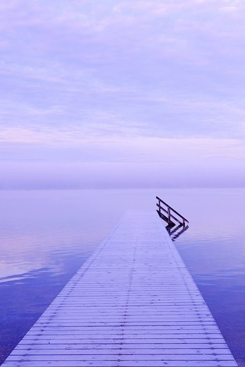 Footbridge, Starnberger See lake, morning mood, Upper Bavaria, Bavaria, Germany, Europe : Stock Photo