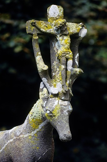 Stock Photo: 1848-458876 Crucifix between antlers, stone sculpture, calvary, St. Hubert, Calvaire in Cast, Finistère, Brittany, France, Europe