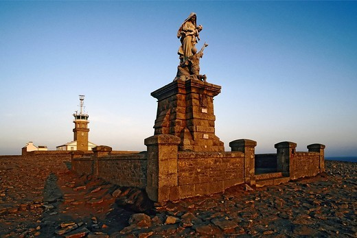 Stock Photo: 1848-458885 Statue of Our Lady of the shipwrecked, Pointe du Raz, Finistere, Brittany, France, Europe
