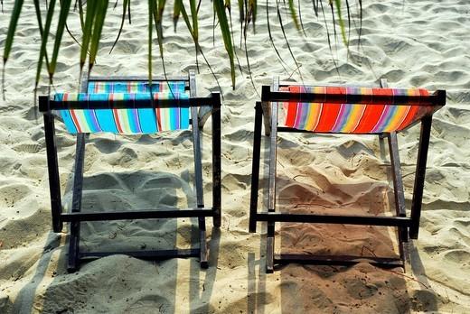 Deck chairs on the beach near Chai Chet, Klong Phrao Beach, Koh Chang Island, National Park Mu Ko Chang, Trat, Gulf of Thailand, Thailand, Asia : Stock Photo
