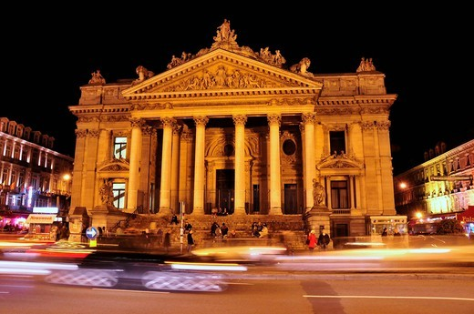 Belgian Stock Exchange at night, Brussels, Belgium, Europe : Stock Photo