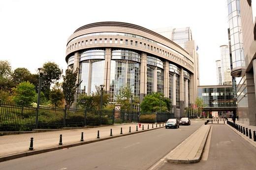 Parliament building of the European Parliament, Brussels, Belgium, Europe : Stock Photo