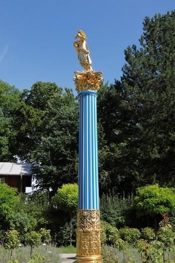 Glass column, Roseninsel island, Starnberger See Lake, Fuenfseenland region, Upper Bavaria, Bavaria, Germany, Europe : Stock Photo