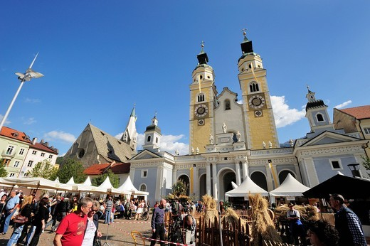 Brixen Cathedral and the Bread and Strudel Festival on the cathedral square in Brixen, Alto Adige, Trentino, Italy, Europe : Stock Photo