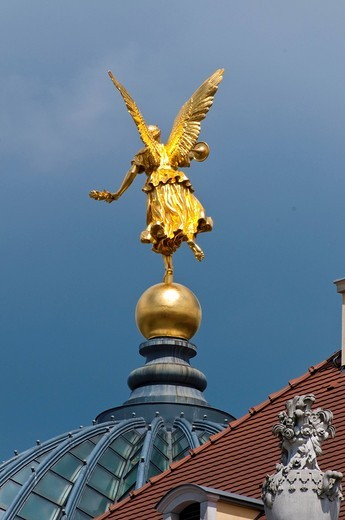 Stock Photo: 1848-459393 Golden angel on the dome of Dresden Academy of Fine Arts, historic town centre, Dresden, Saxony, Germany, Europe