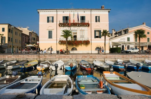 Fishing port, promenade, Bardolino, Lake Garda, Lago di Garda, Veneto, Italy, Europe : Stock Photo