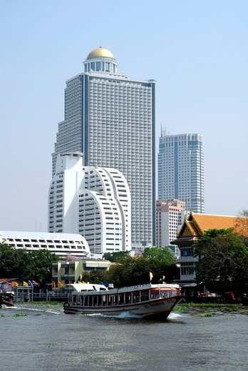 Stock Photo: 1848-460118 State Tower at the Mae Nam, Menam Chao Phraya river, Bangrak, Bang Rak district, Bangkok, Krung Thep, Thailand, Asia