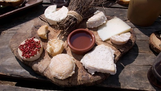 Stock Photo: 1848-460230 French cheese platter with goat cheese on an old wooden plate on a wooden table