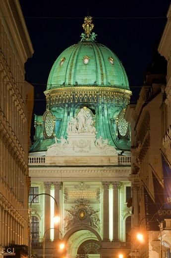 Kohlmarkt, Coal Market Square and Hofburg Palace at night, Vienna, Austria, Europe : Stock Photo