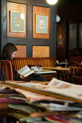 Newspapers, Café Havelka, Wien, Oesterreich, Vienna, Austria, Europe : Stock Photo