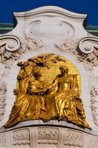 Golden relief, Palais Schwarzenberg city palace at the Schwarzenbergplatz square, Vienna, Austria, Europe : Stock Photo