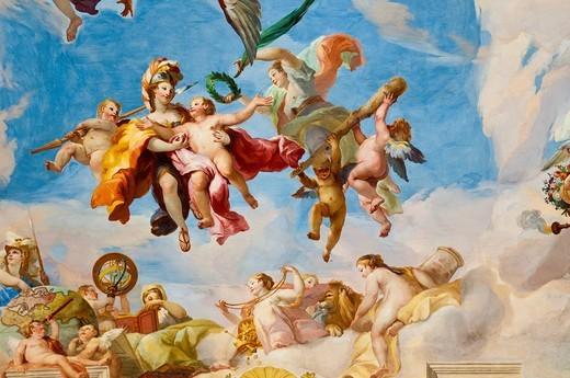 Stock Photo: 1848-460859 Ceiling frescoes by Johann Michael Rottmayr, The admittance of Military genius to Olympus, Palais Liechtenstein, Vienna, Austria, Europe
