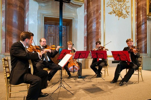 Chamber orchestra in the Festsaal hall, Palais Liechtenstein city palace, Vienna, Austria, Europe : Stock Photo