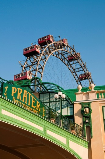 Wiener Riesenrad, Viennese giant ferris wheel, Volks_Prater amusement park, Vienna, Austria, Europe : Stock Photo
