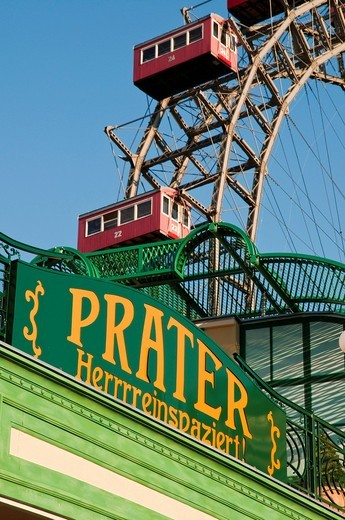 Stock Photo: 1848-460965 Wiener Riesenrad, Viennese giant ferris wheel, Volks_Prater amusement park, Vienna, Austria, Europe