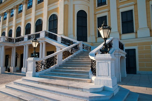 Schloss Schoenbrunn Palace, garden front, stairs, Vienna, Austria, Europe : Stock Photo