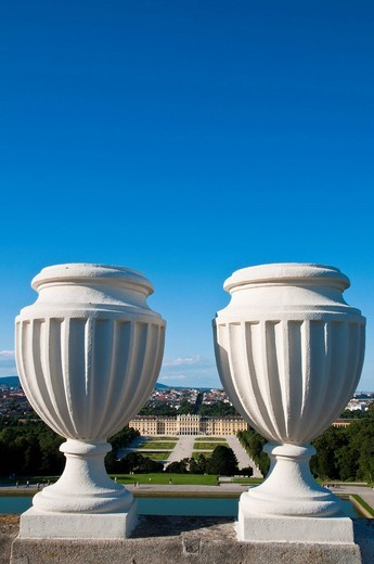 View from the Gloriette, palace gardens, Schloss Schoenbrunn Palace, Vienna, Austria, Europe : Stock Photo