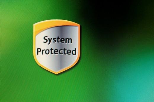 Screenshot, Computer Warning, System Protected : Stock Photo
