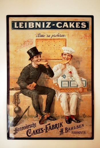 Old metal advertising sign for Leibnitz cakes : Stock Photo