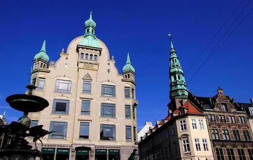 Stock Photo: 1848-461266 Amager market with part of the stork fountain and Høibrohus building, Copenhagen, Zealand, Denmark, Europe