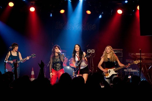 Stock Photo: 1848-461357 The German women AC/DC cover band Hells Belles live at the Schueuer concert hall, Lucerne, Switzerland