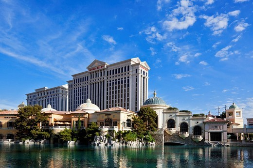 Hotel Bellagio and Caesars Palace, Las Vegas Strip, Las Vegas, Nevada, America, United States : Stock Photo