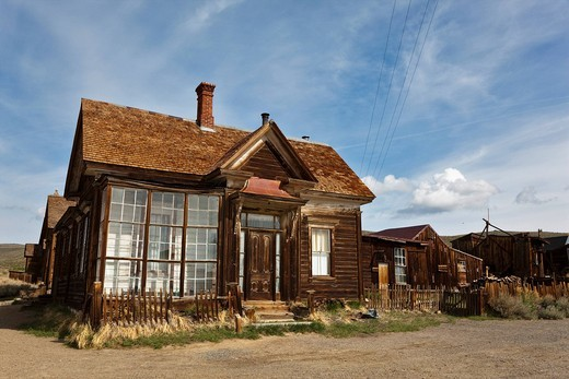 Residence of J. S. Cain, corner of Green and Park Street, Bodie State Park, ghost town, mining town, Sierra Nevada Range, Mono County, California, USA : Stock Photo