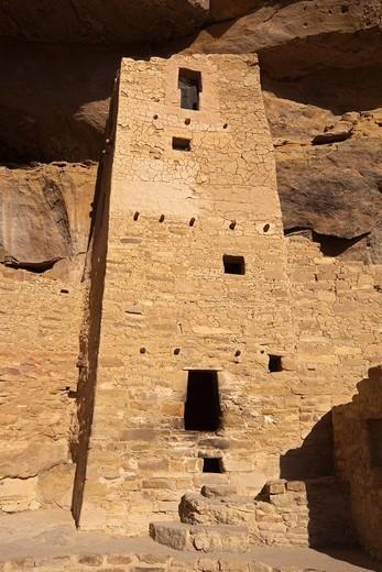 Cliff Palace, cliff dwellings, Anasazi Native American ruins, Mesa Verde National Park, Colorado, America, United States : Stock Photo
