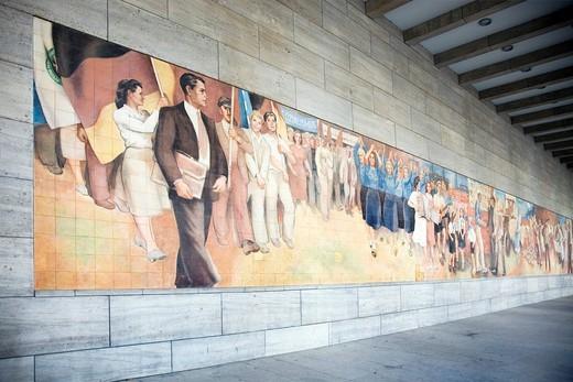 Mural Aufbau der Republik by Max Lingneron German Finance Ministry, Wilhelmstrasse, Berlin, Germany, Europe : Stock Photo