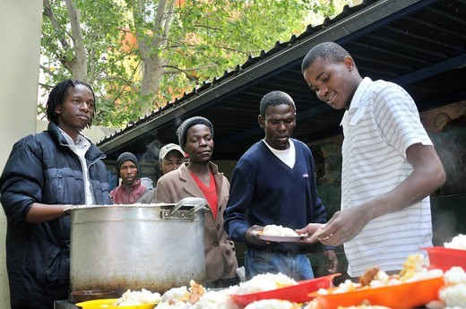 Stock Photo: 1848-462448 Soup kitchen for the homeless and street children from the Twilight project, Hillbrow, Johannesburg, South Africa, Africa
