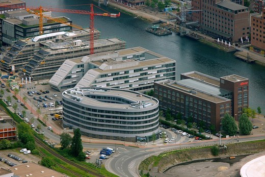 Stock Photo: 1848-462549 Aerial photo, Innenhafen Inner harbor, Alltours office building front, Duisburg, Ruhrgebiet area, North Rhine_Westphalia, Germany, Europe