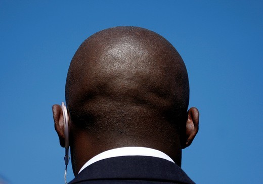 Head, bald head from behind, security guard : Stock Photo