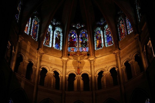 Apse, Cathedral of Saint Jean, Lyon, Rhône département, Rhône_Alpes, France, Europe : Stock Photo