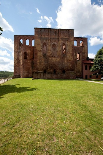Limburg Abbey, former Abbey of the Holy Cross or Abbey of Limburg an der Haardt, Bad Duerkheim, Rhineland_Palatinate, Germany, Europe : Stock Photo