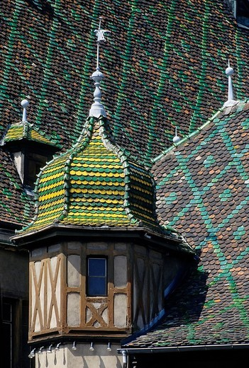 Roof and turrets with colourful glazed tiles, Koifhus building from the 16th century, historic town centre, Colmar, Alsace, Haut_Rhin, France, Europe : Stock Photo