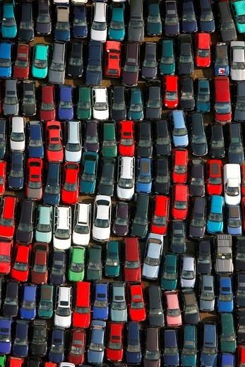 Aerial photo, car scrapyard, Brauck industrial area, Gladbeck, Ruhr area, North Rhine_Westphalia, Germany, Europe : Stock Photo